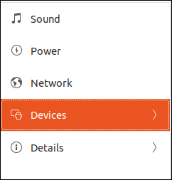devices entry in the settings dialog