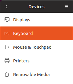 keyboard entry in the settings dialog
