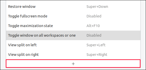 Plus button at the bottom of the shortcut list