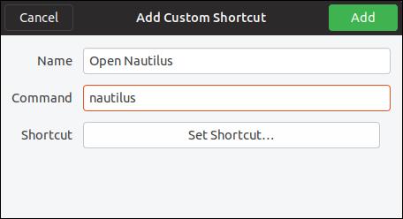 add custom shortcut dialog