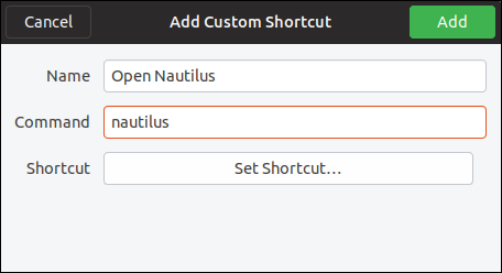 add custom shortcut dialog