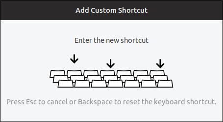 enter the new shortcut prompt