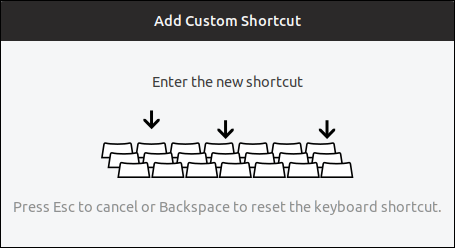 enter the new shortcut prompt