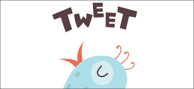 """The word """"Tweet!"""" above a blue cartoon bird."""