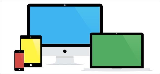 Cartoonish iPhone, iPad, Mac, and Macbook drawing.