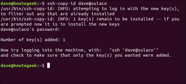 pulic key transferred successfully in a terminal window