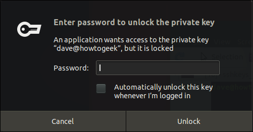 passphrase request dialog box