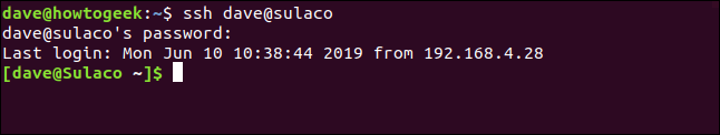 user dave connected to sulaco using ssh and a password