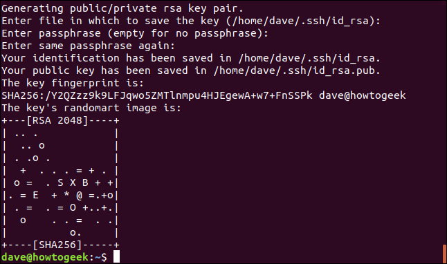 Keys generation completed and random art displayed in a terminal window