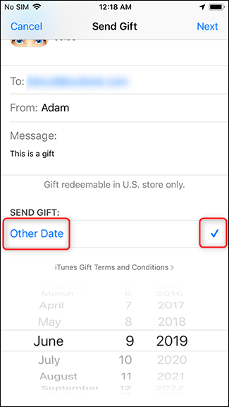 change the date the gift will be delivered