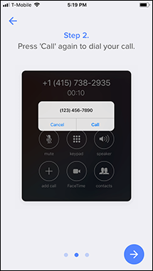 Step 2 of the tutorial for recording an outgoing call in the Rev app.