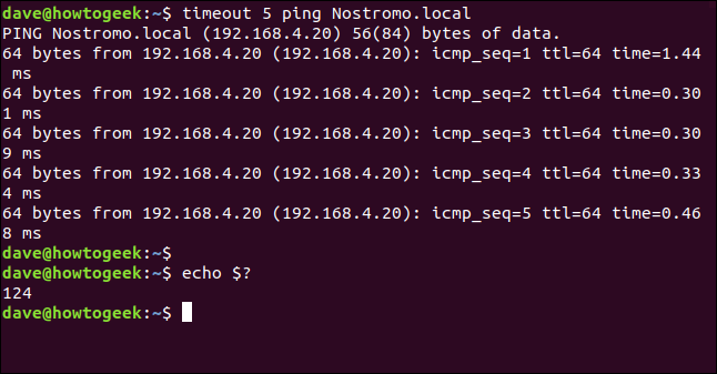 output of ping and echo $? in a terminal window