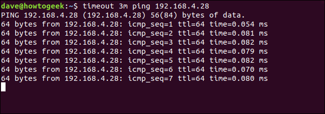 ping session running in a terminal widow