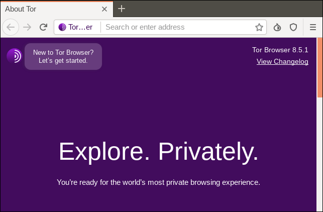 Tor browser main window