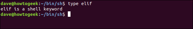 type elif in a terminal window