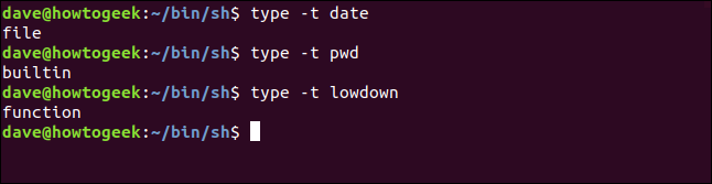 demonstration of type -t option in a terminal window