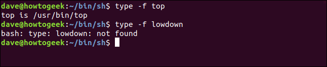 demonstration of the type -f option in a terminal window