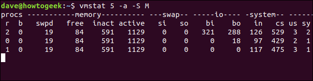output from vmstat 5 -a -S M in a terminal window