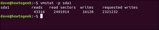 output from vmstat -p sda1 in a terminal window