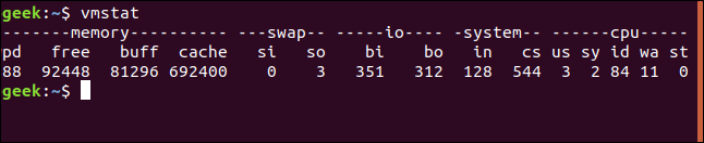 vmstat output right-hand columns in a terminal window
