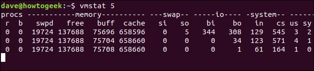 output from vmstat 5 in a terminal window
