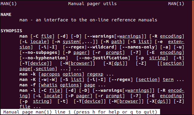 man page open at section one in a terminal window