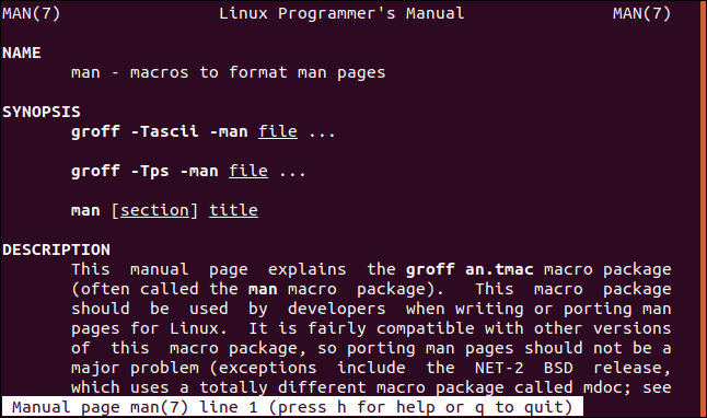 man page open at section seven in a terminal window