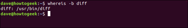 whereis output restricted to binary location only in a terminal window