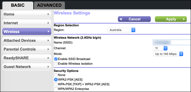Choosing a Wi-Fi Channel in a a basic router setup menu.