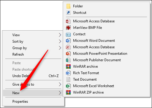 """The """"New item"""" menu, accessed from the context menu."""
