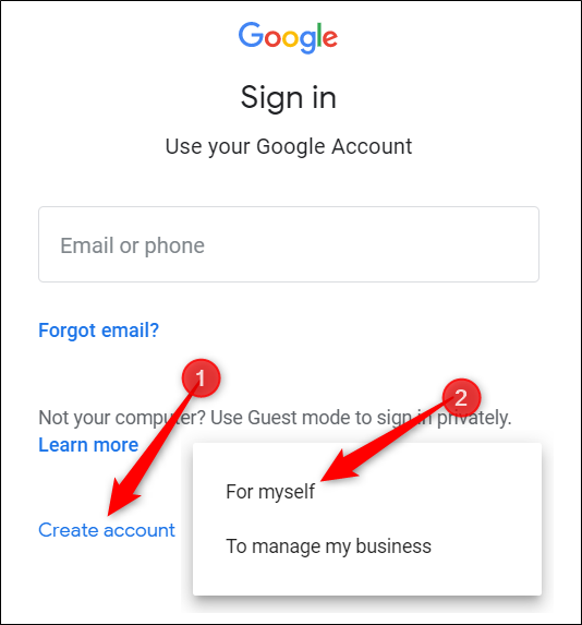 "Click ""Create Account,"" and then click ""For Myself."""