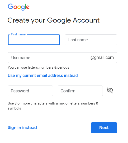 The Create your Google Account page, where you type your first and last name, username, and password.