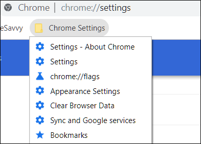 Example of Chrome Settings saved for quick access