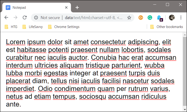 Example of a custom notepad inside of Google Chrome