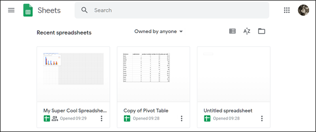 Overview of Google Sheets homepage