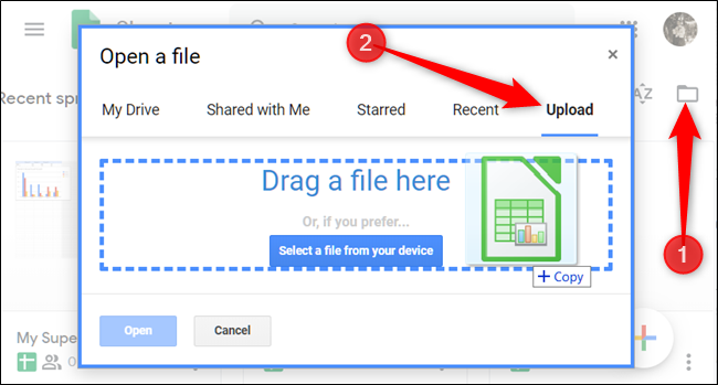 Click the folder icon, click Upload, then drag the file(s) into the window
