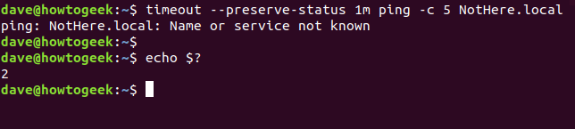 timeout - -preserve-status 1m ping -c 5 NotHere.local in a terminal window
