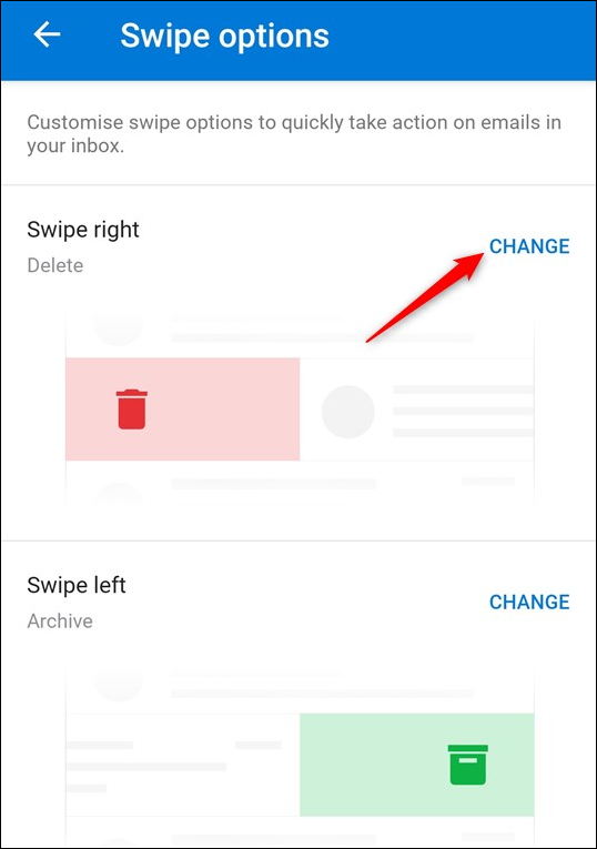 The default swipe actions, and the Change option