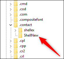 The .contact key expanded to show the ShellNew key.