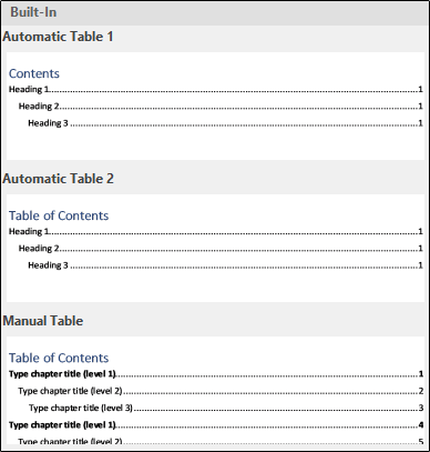 Built-In Table of Contents menu