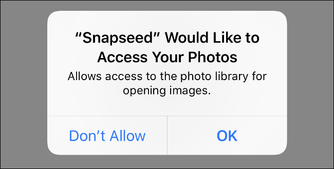 """A screenshot of the iOS app """"Snapseed"""" requesting access to the Photos app"""