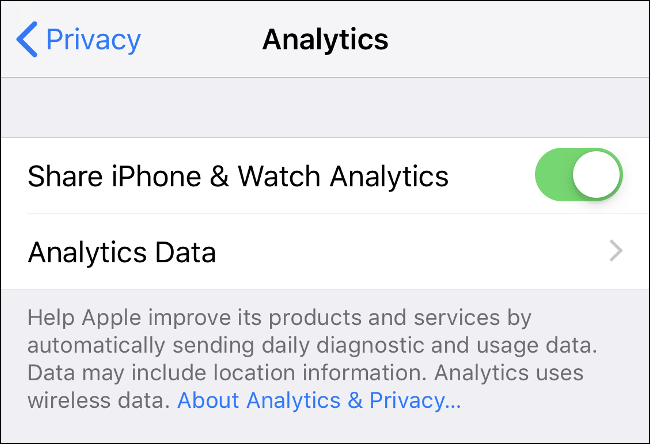 """The """"Analytics"""" screen under the """"Privacy"""" settings on iPhone."""