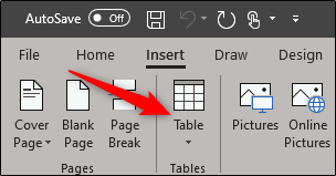Insert a table in Word
