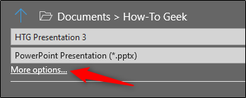 More Options in Save as tab