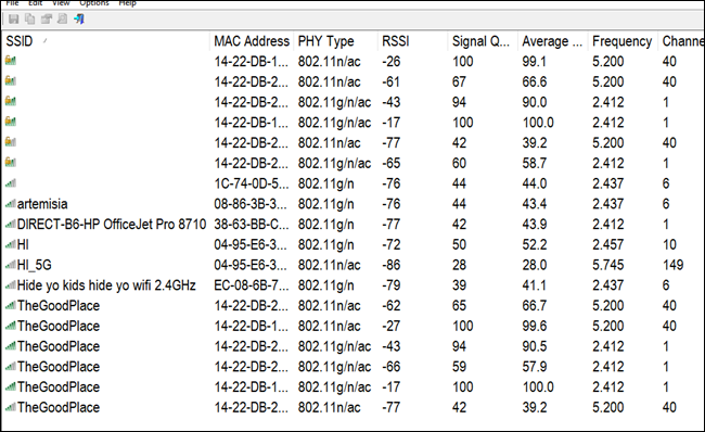WifiInfoView window showing Wi-Fi scan results.