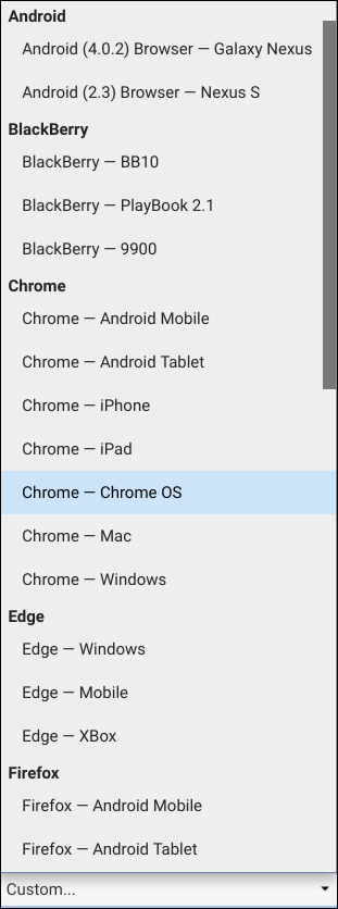 The selection list of all the preconfigured user agents in Chrome.