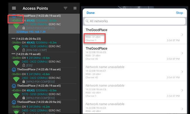 Android Wi-Fi analyzer and iOS Airport Utilities showing Wi-Fi signal strength