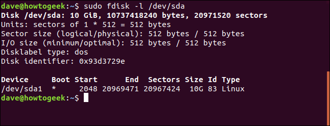 output of fdisk in a terminal window