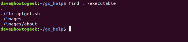 executable file search results na terminal window