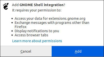 Confirm adding extension to Firefox